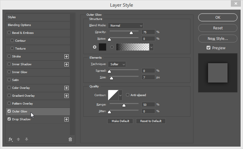 photoshop navigationsbar outer glow