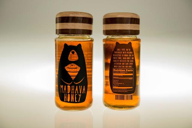 Etiketten für Honig madhava honey rebrand 2