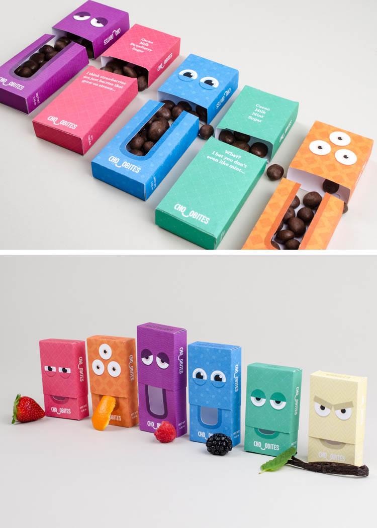 Verpackung von Süßwarenerzeugnissen inspirierende Ideen chocobites