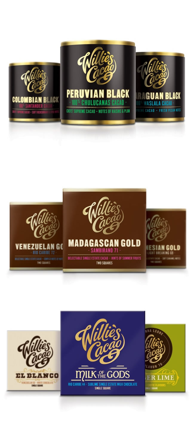 Verpackung von Süßwarenerzeugnissen inspirierende Ideen willie's cacao