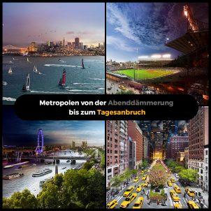 Metropolen von der Abenddämmerung bis zum Tagesanbruch