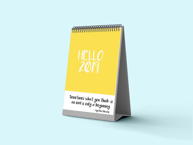 Aishwarya Jha hello 2019 kalender design