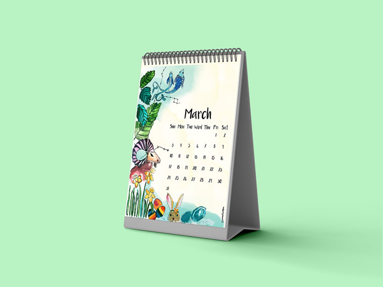 Aishwarya Jha hello kalender 2019 design