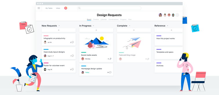 Asana homepage illustrationen
