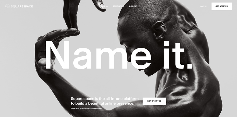 Squarespace homepage webdesign