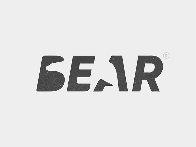 Bear negative space logo design