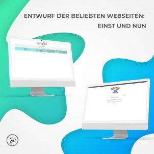 Entwurf der beliebten Webseiten einst und nun