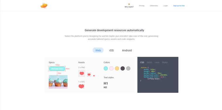 Zepelin web design tool
