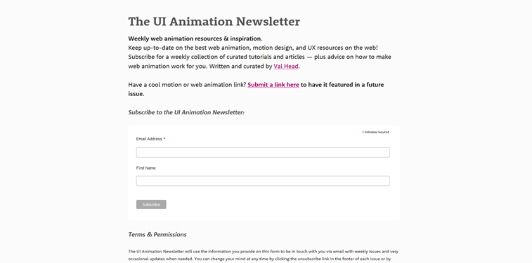 UI Animation Newsletter