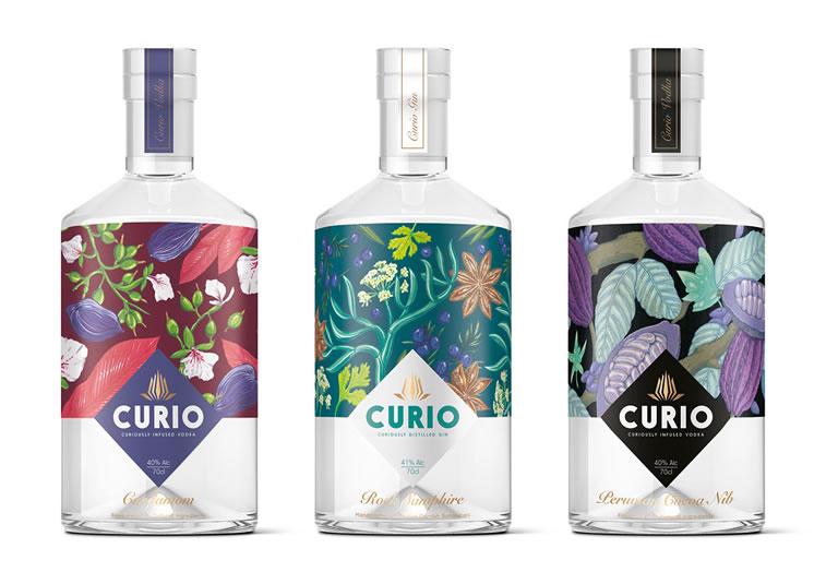 curio spirits etikettendesign