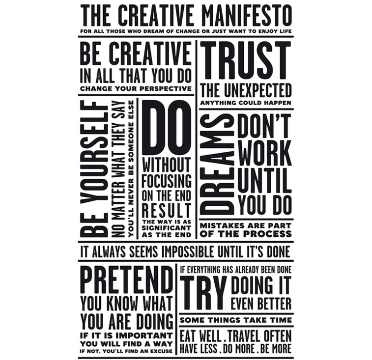 Creative manifesto from Fonts in use