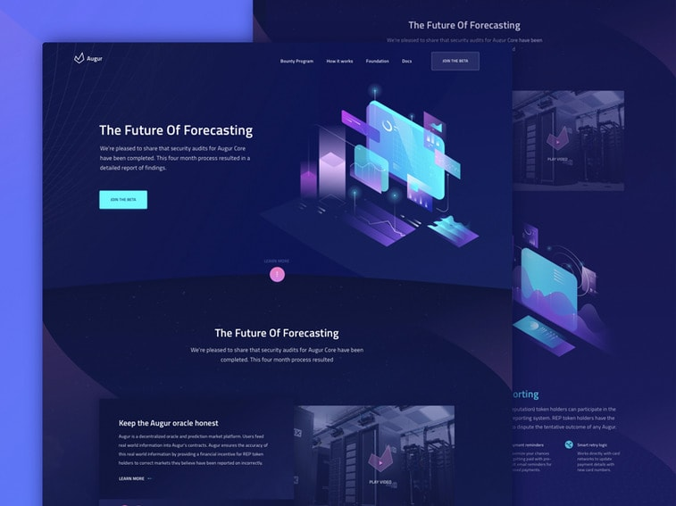 Website mit leuchtenden Farben