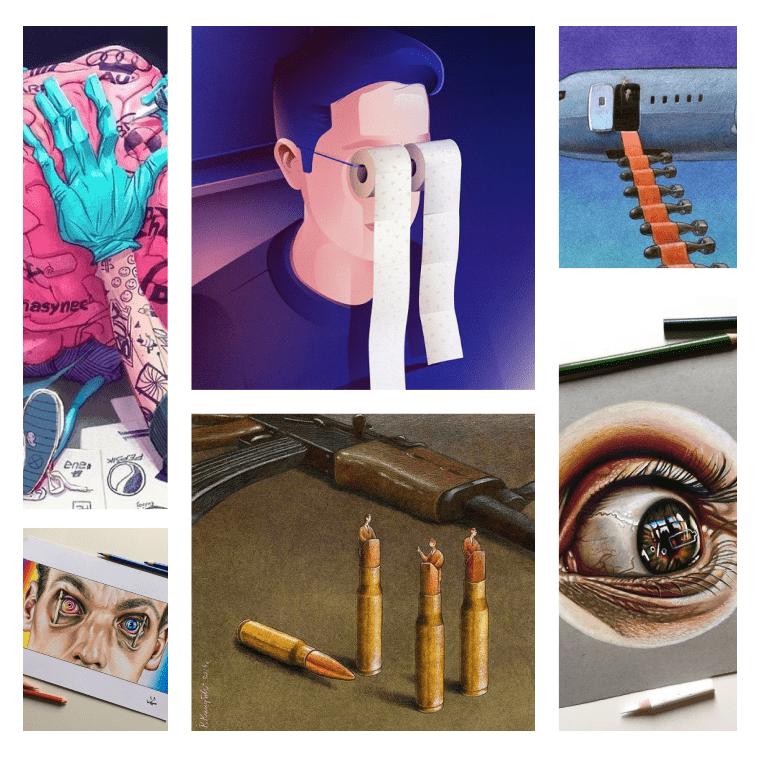 4277440 grausame Illustrationen die unsere umgebende Gesellschaft beschreiben